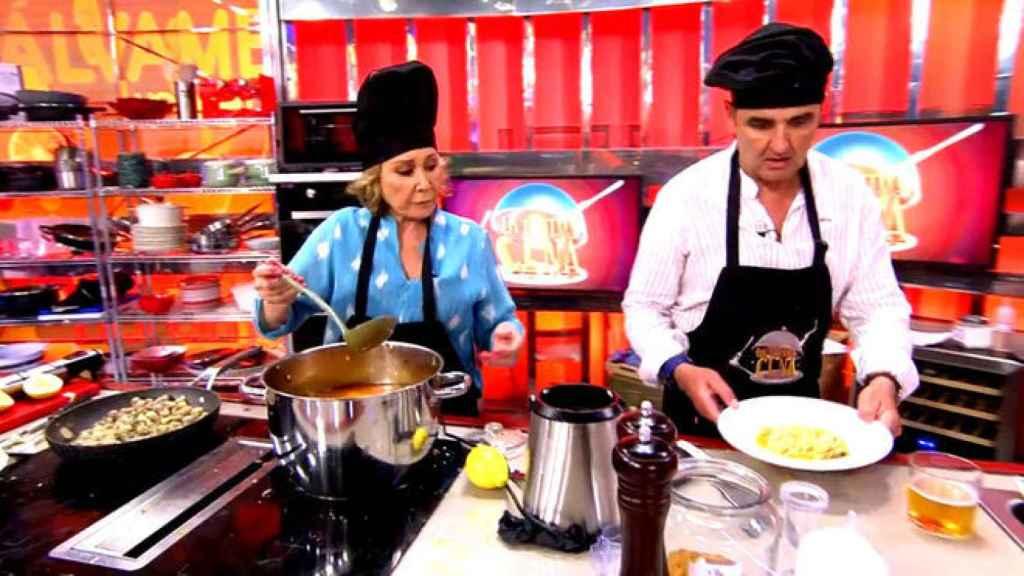 Mila Ximénez y Antonio Montero durante su participación en la primera edición de 'La última cena'.