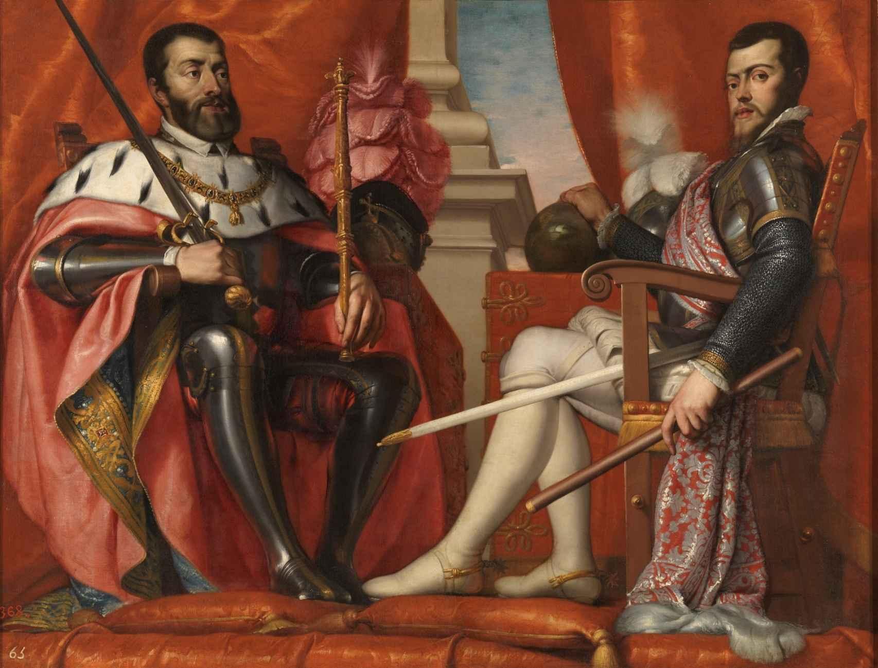 'Carlos V y Felipe II', un lienzo de Antonio Arias Fernández.