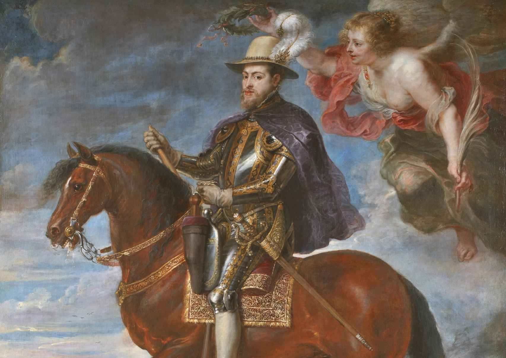 Felipe II a caballo, pintado por Rubens.