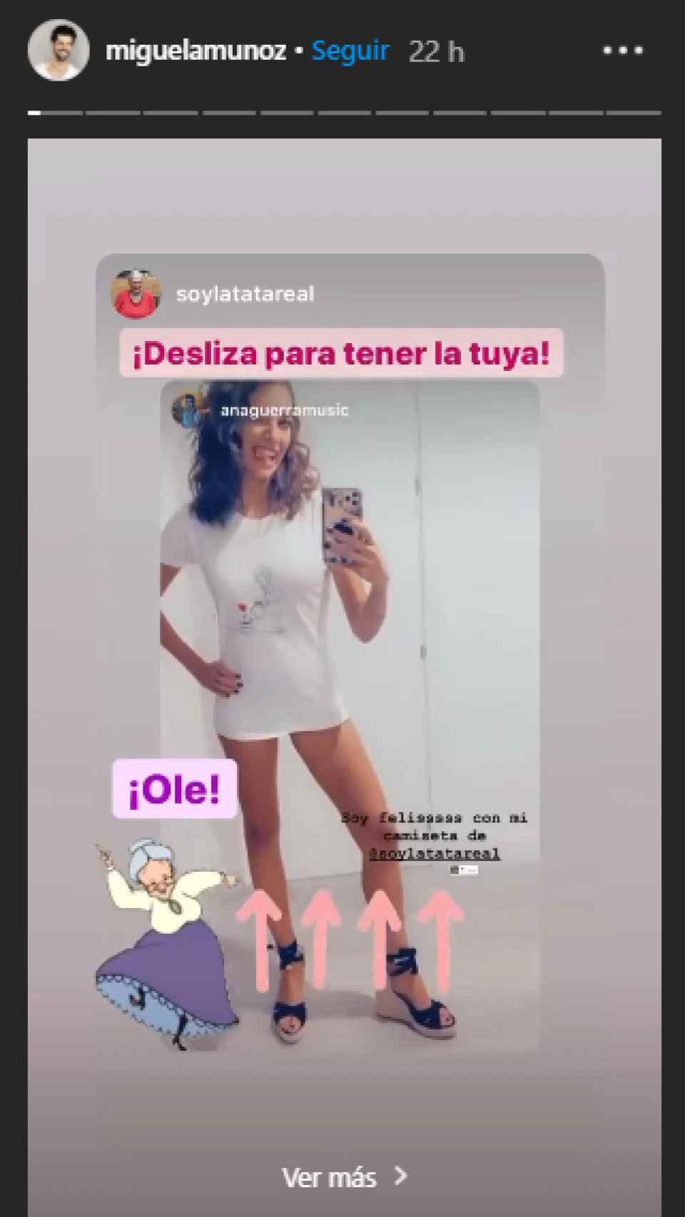 Ana Guerra, luciendo una camiseta de 'La Tata'.