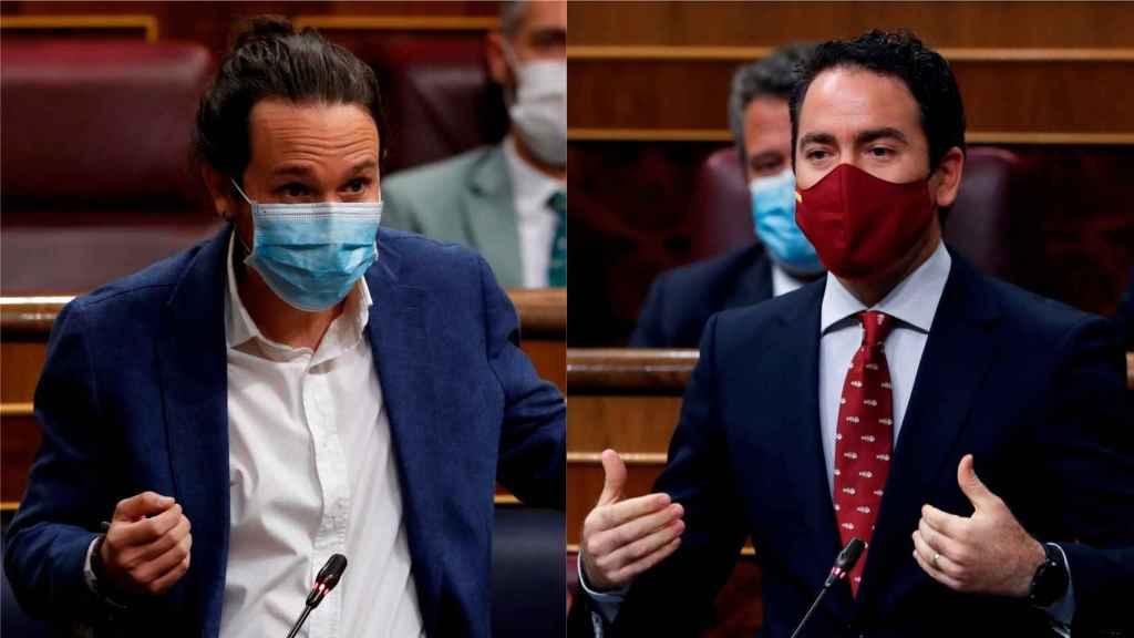Pablo Iglesias y Teodoro García Egea este miércoles en el Congreso.