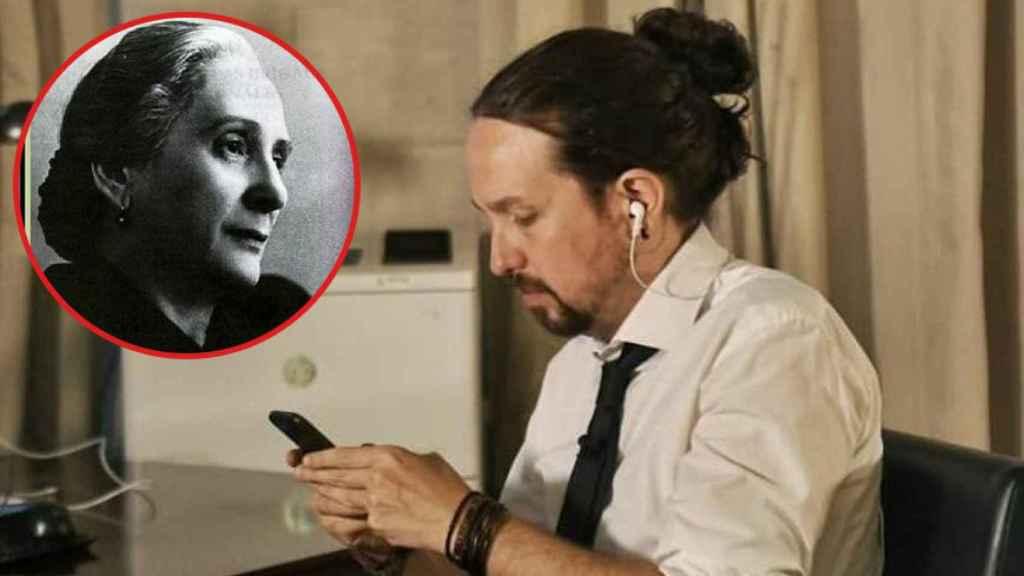Pablo Iglesias, en la foto que enseñó su nuevo look y La Pasionaria.