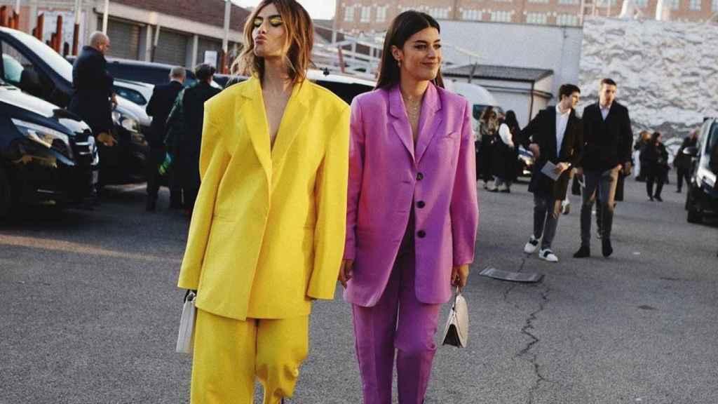 Madame de Rosa  y Dulceida durante la Semana de la Moda de Milán.