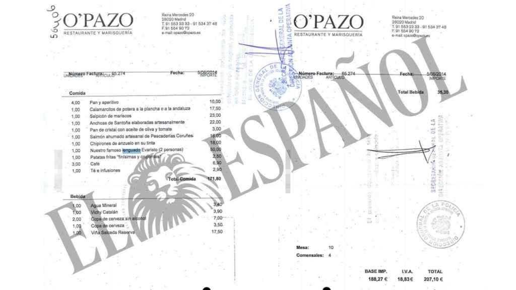 Una de las facturas cargadas a los fondos reservados de Interior por el chófer de Bárcenas.