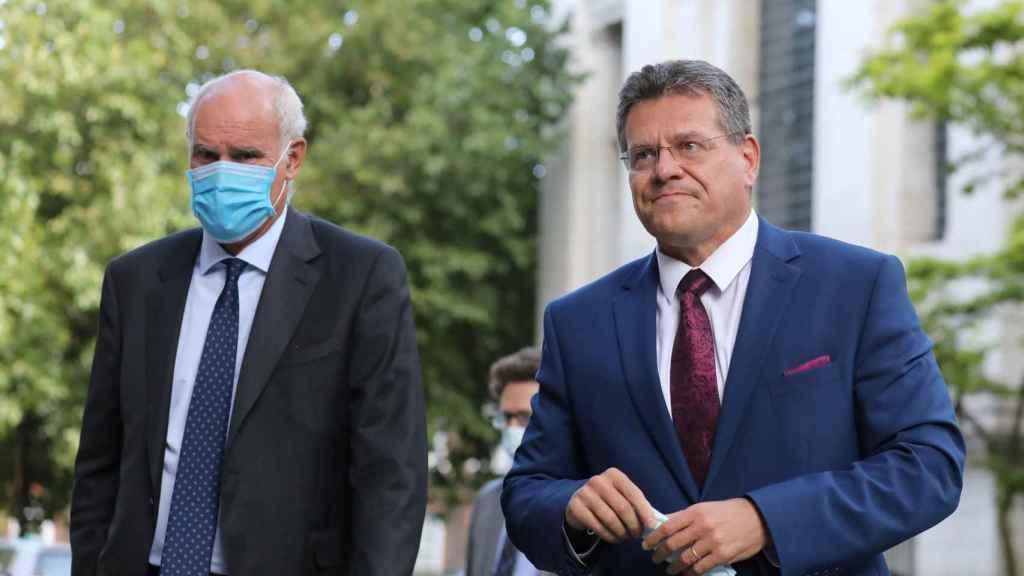 El vicepresidente de la Comisión, Maros Sefcovic, durante su visita a Londres este jueves