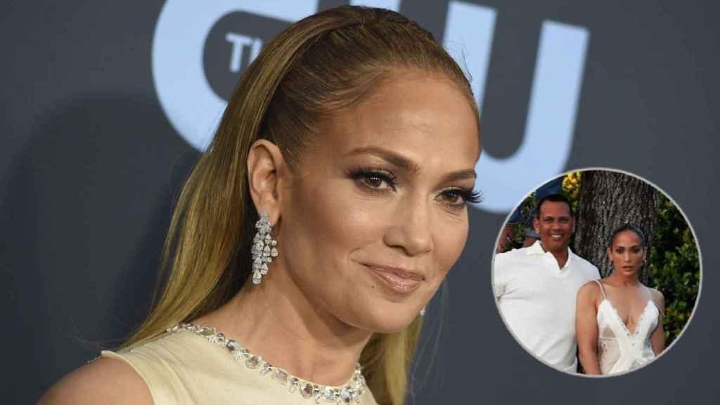 Jennifer Lopez y el vestido que ha agotado en un fotomontaje de JALEOS.