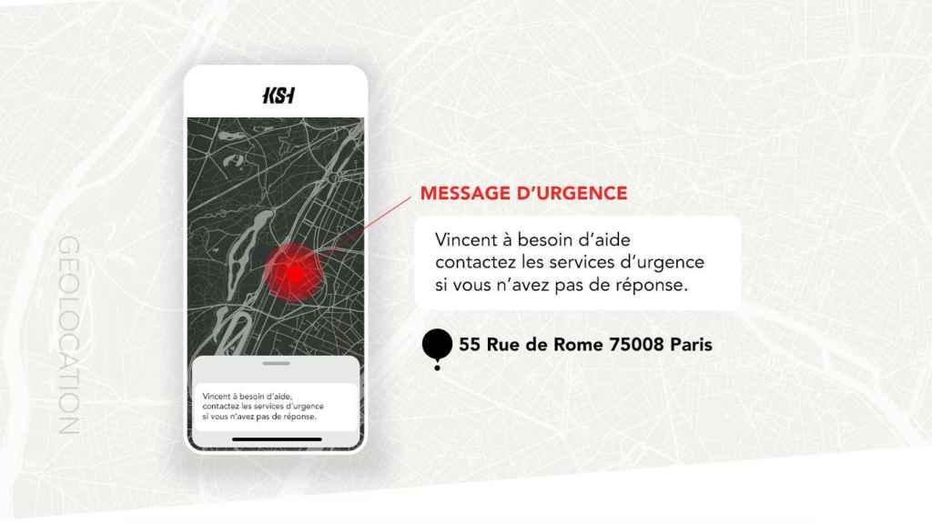 Mensaje de emergencia en caso de accidente.