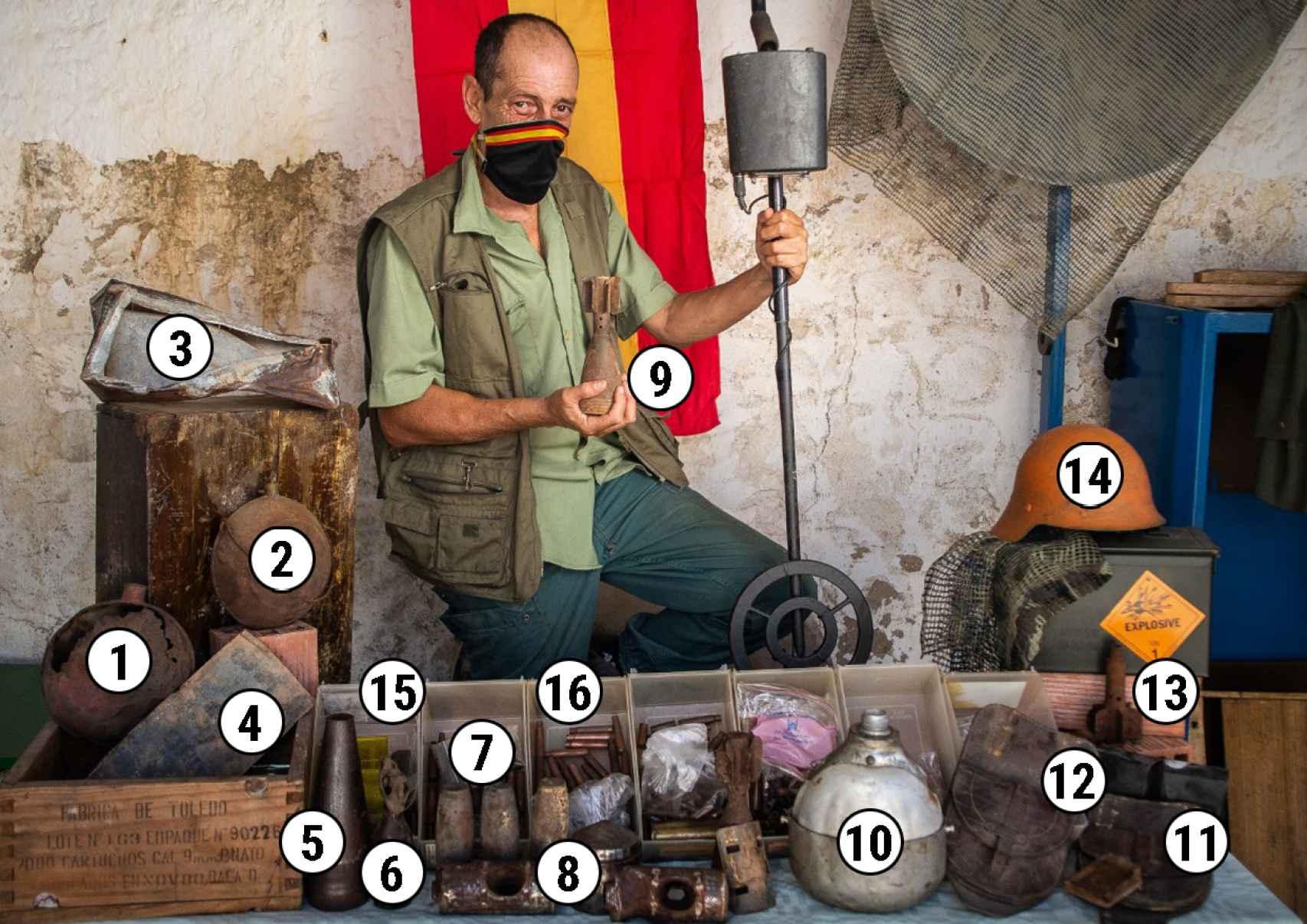 El inventario: (1, 2 y 11) cantimploras, (3) caja metálica porta munción, (4) tapa metálica con sello de plomo, (5) rectos de la cabeza de un mortero, (6) pequeña botella, (7) cabezas de bombas desactivadas, (8) granada francesa vaciada, (9) cuerpo de granada de mortero de 60 mm explotada, (10) desconocido, (12, 13 y 14) porta herraduras de caballerías, (15) cartucheras del Mauser, (16) rectos de una granada de mortero, (17) casco de Mod.1917 en restauración, (18) peines, eslabones y cargadores, (19, 20 y 21) casquillos de varios calibres y países.