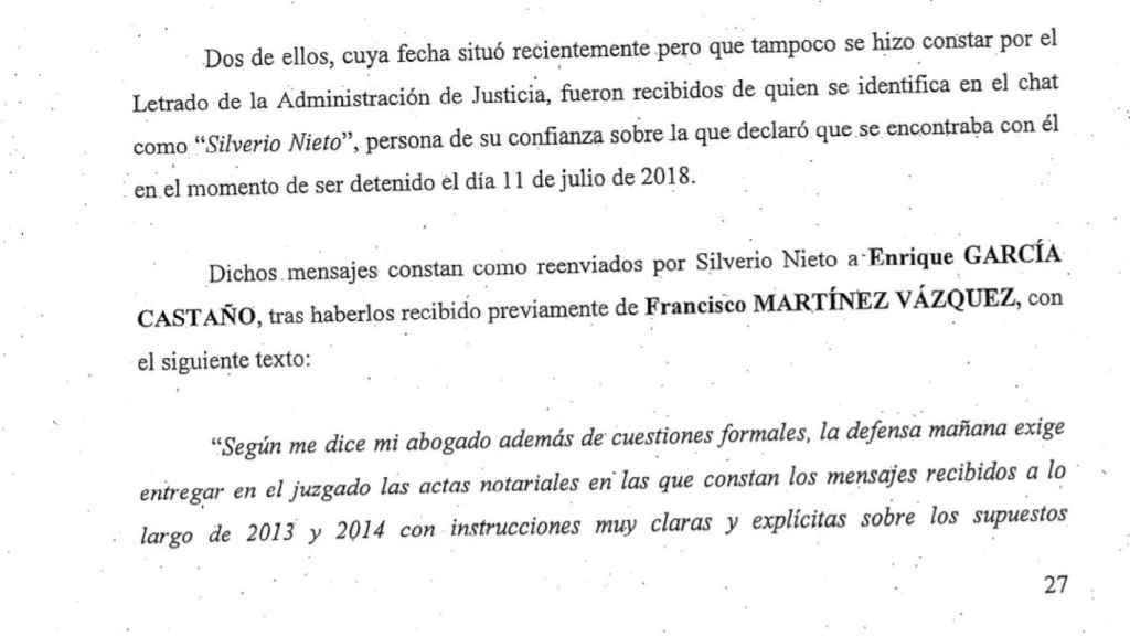 Uno de los pasajes del escrito enviado al juzgado por la Fiscalía Anticorrupción en el que aparece citado Silverio Nieto.