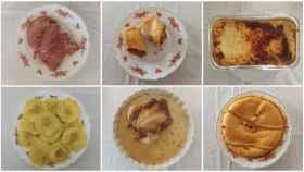 De izquierda a derecha y de arriba a abajo: paleta de cerdo, 'wrap' vegetal, lasaña, pasta 'girasoli', pollo asado y empanada gallega, hechos por Aldi.
