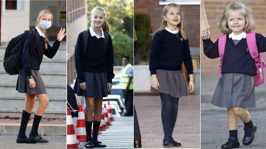 Leonor, en diferentes etapas del coelgio, llevando el modelo de zapatos Mercedes/Mercedita.