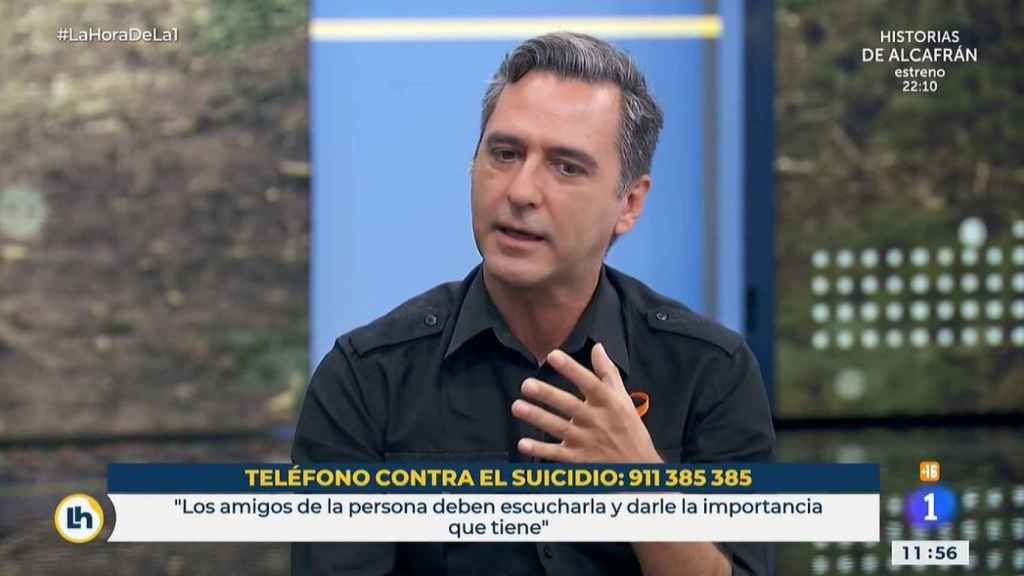 El presentador Javi Martín durante su testimonio en 'La hora de la 1'.