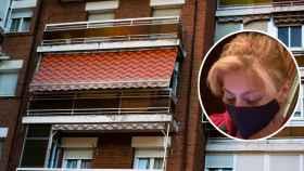 La ex cuidadora Rosa, en el momento de su desalojo, y el piso de Leganés 'desokupado'.