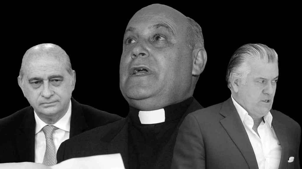 Jorge Fernández Díaz, exministro del Interior (izq.), el cura Silverio Nieto (c), y el extesorero del PP Luis Bárcenas.