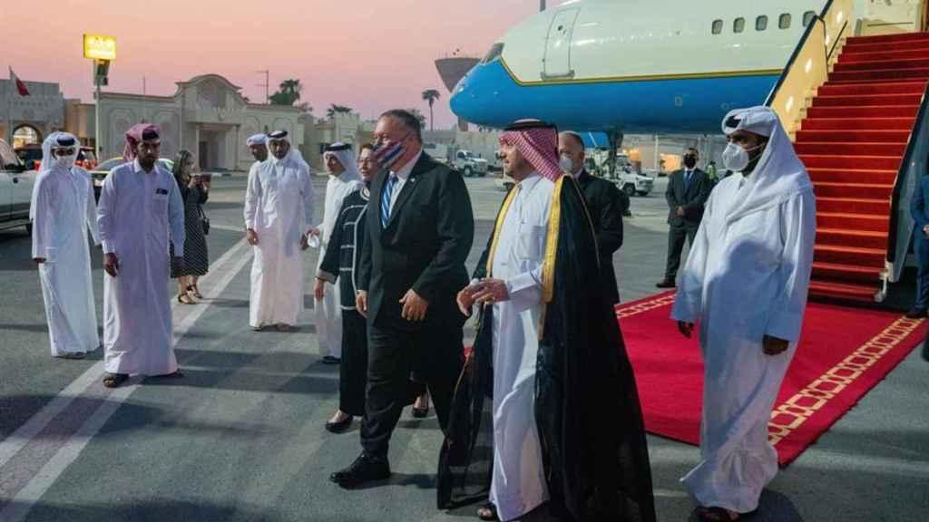 El secretario de Estado estadounidense, Mike Pompeo, llega a Doha.