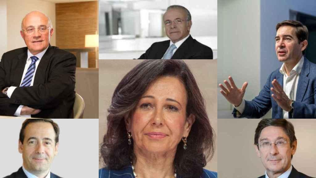Josep Oliu, Isidro Fainé, Carlos Torres, Gonzálo Gortázar, Ana Botín y José Ignacio Goirigolzarri.