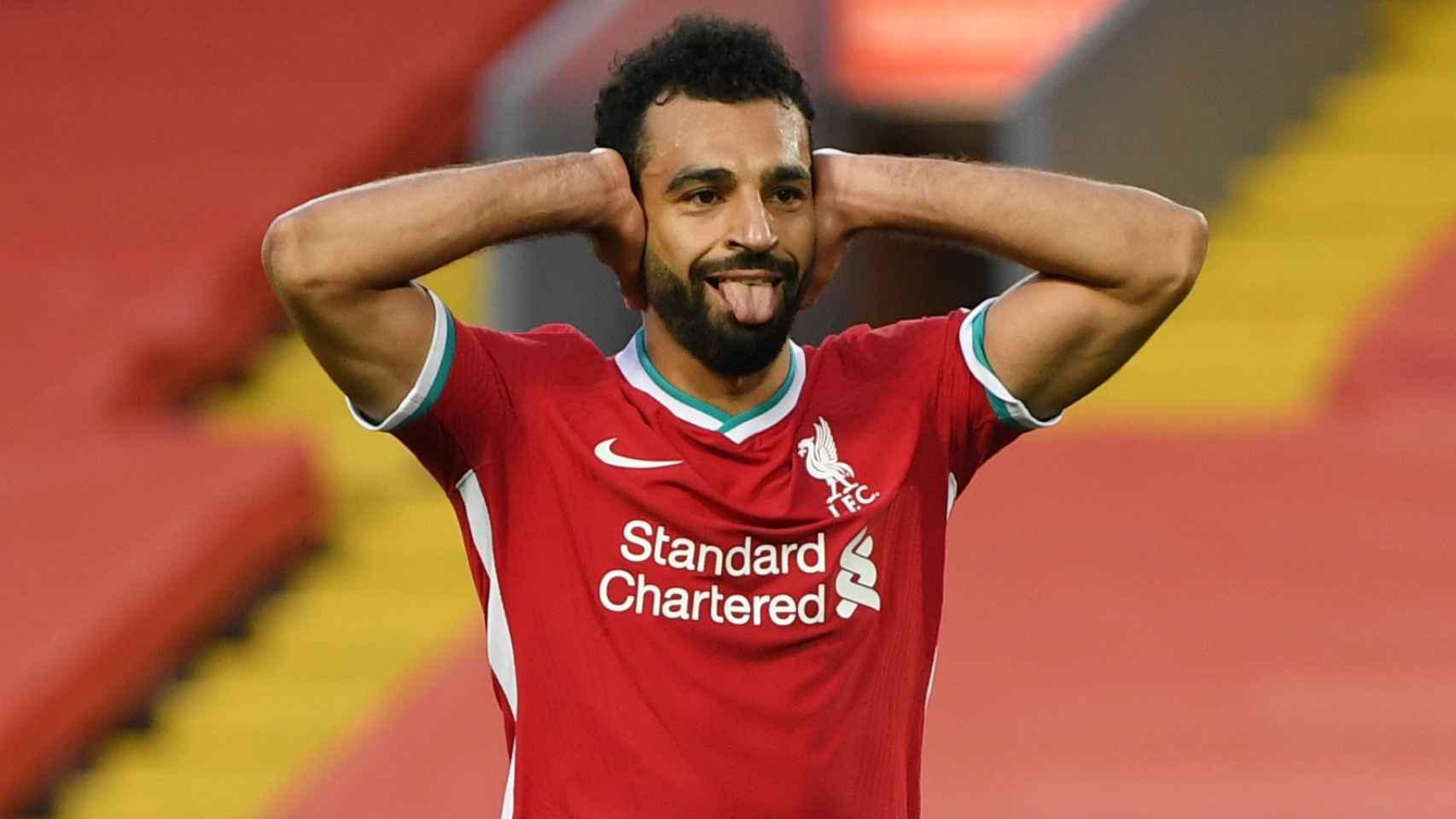 Salah durante un partido del Liverpool