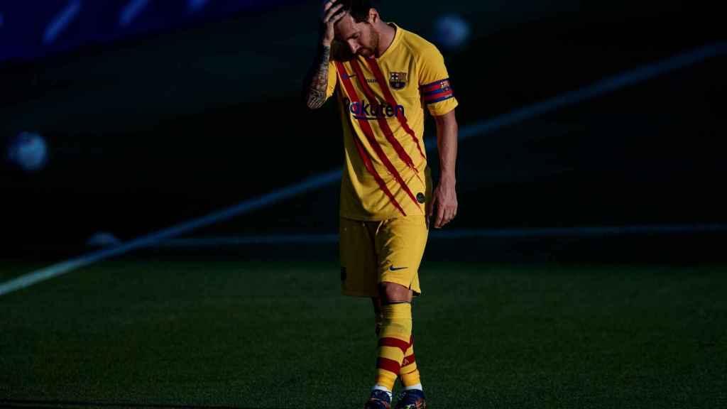Messi se lamenta durante un partido del FC Barcelona