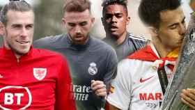 Gareth Bale, Borja Mayoral, Mariano Díaz y Sergio Reguilón