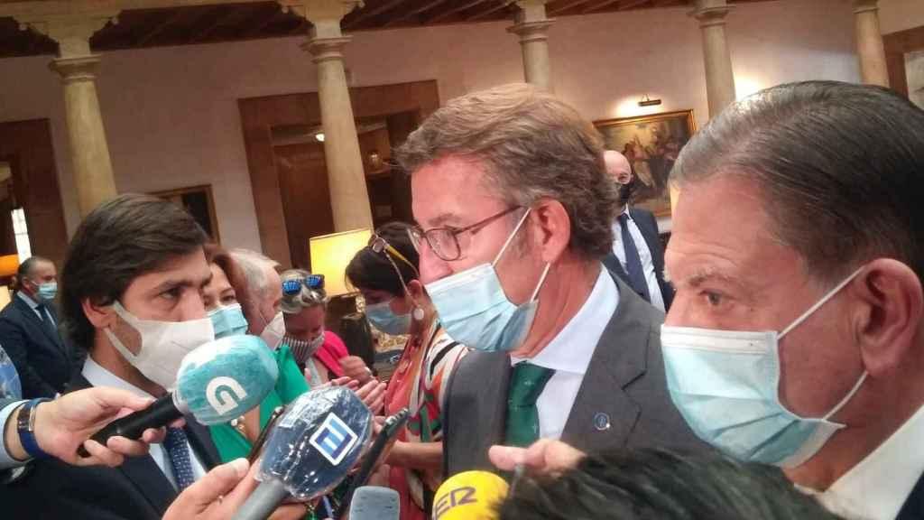 Núñez Feijóo, durante su comparecencia ante los medios.