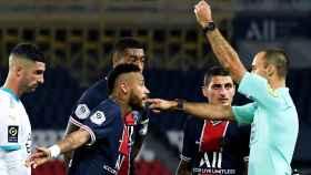Álvaro González y Neymar Jr durante el PSG - Olympique de Marsella de la Ligue-1