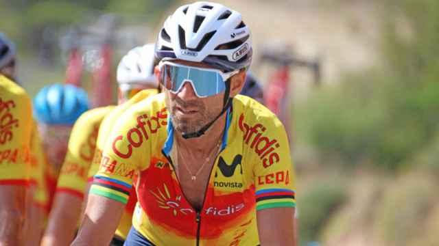Alejandro Valverde, con el maillot de la selección española de ciclismo