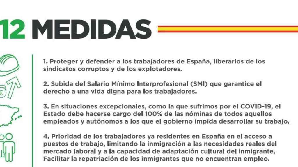 Estracto de las 12 medidas que impulsará Solidaridad, el sindicato de Vox.