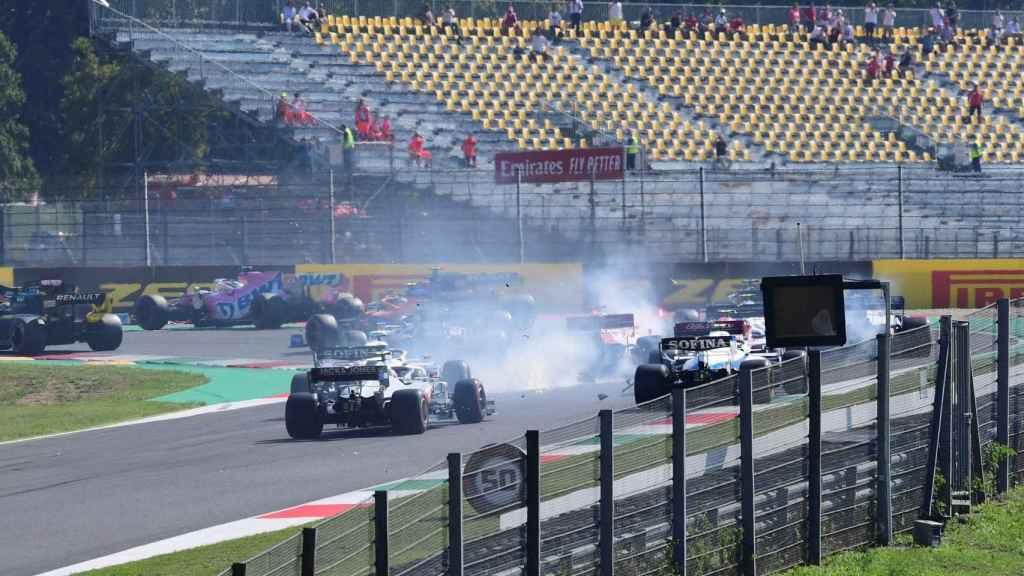 Uno de los accidentes del Gran Premio de la Toscana