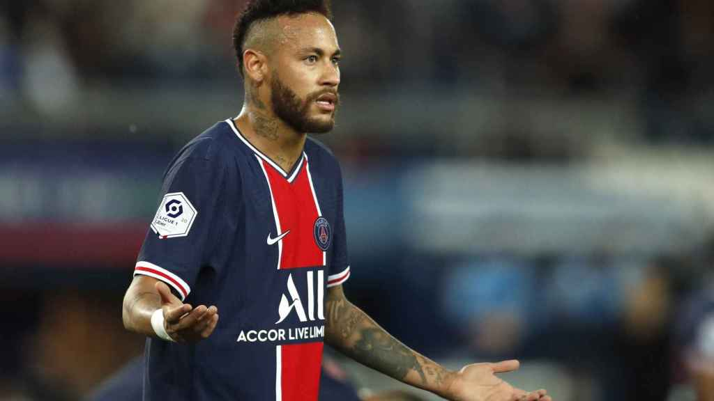 Neymar, durante el partido del PSG ante el Olympique de Marsella de la Ligue-1