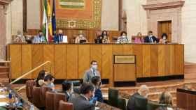 El presidente de la Junta, Juanma Moreno, presenta 'Andalucía en Marcha'.
