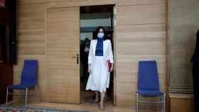 Isabel Díaz Ayuso a su llegada a la Asamblea de Madrid para el debate sobre el estado de la región.