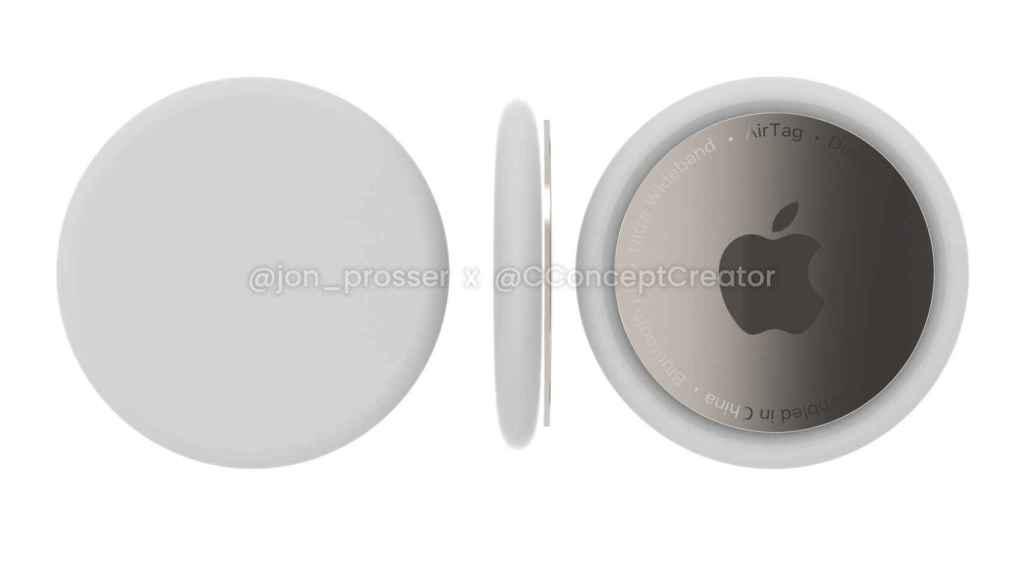 Imagen renderizada de cómo serían los Apple AirTags
