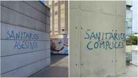 Grafitis encontrados en el Hospital Materno Infantil de La Paz (Madrid) contra los sanitarios