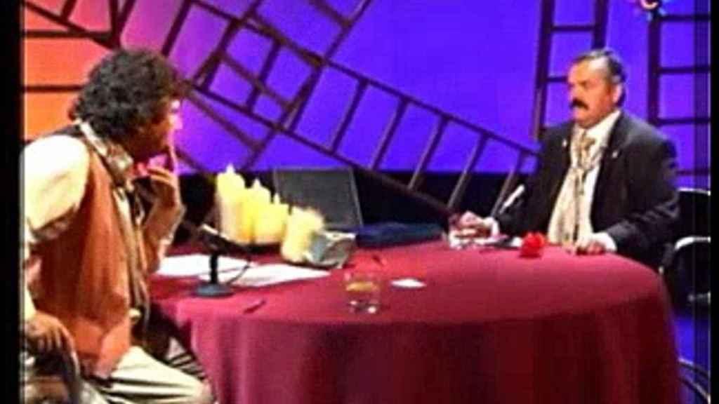 'El Risitas' junto a Jesús Quintero durante uno de sus programas emitidos en Canal Sur.