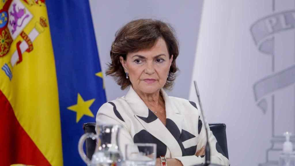 Carmen Calvo, este martes, en la rueda de prensa posterior al Consejo de Ministros.