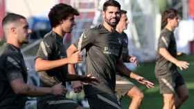 Diego Costa durante el entrenamiento del Atlético de Madrid