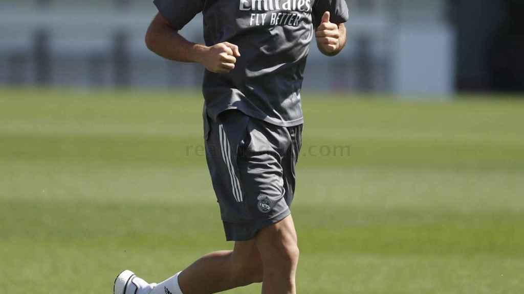 Sergio Reguilón, en un entrenamiento del Real Madrid