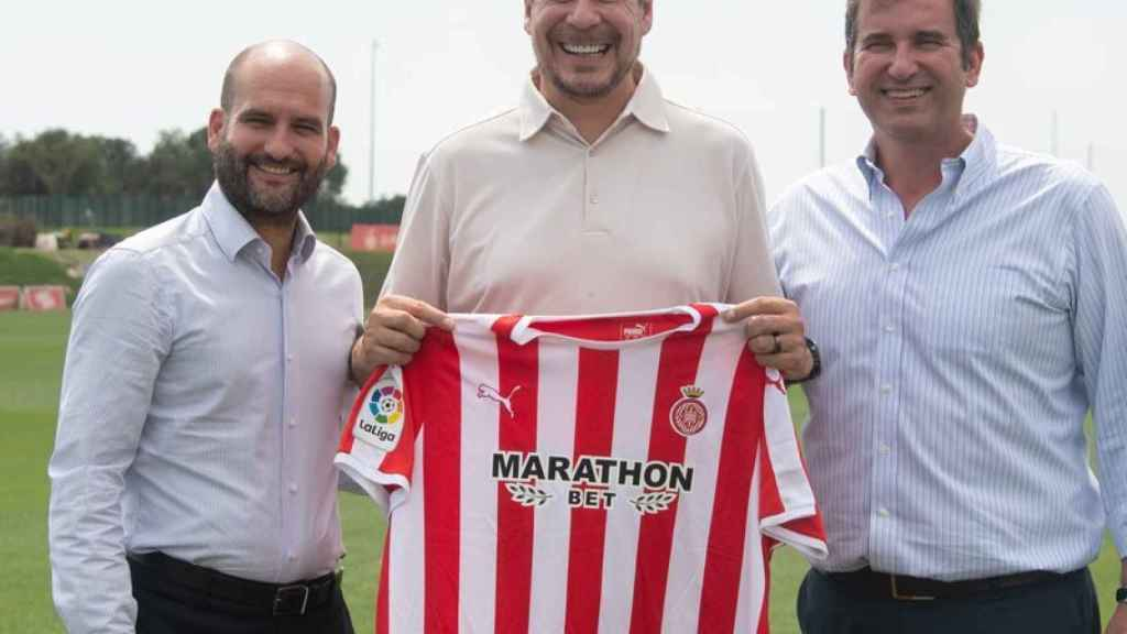 Pere Guardiola (izquierda) junto a Marcelo Claure y el CEO del City Football Group, Ferran Soriano
