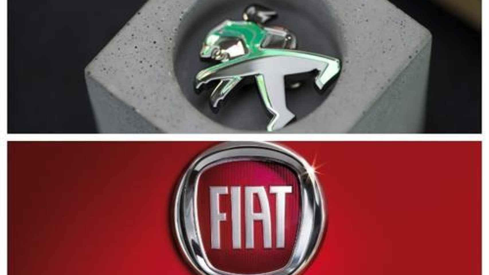 Los logos de Peugeot y Fiat, insignias de Stellantis.