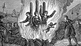 Grabado sobre la quema de brujas en el siglo XVI.