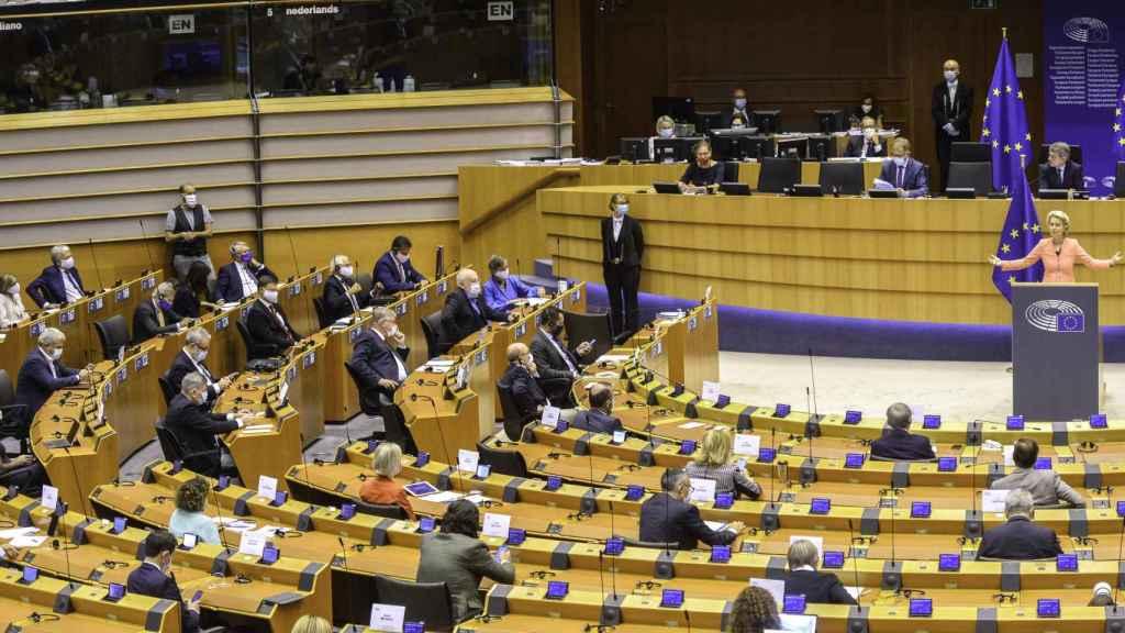 Vista del hemiciclo durante el discurso este miércoles de Von der Leyen