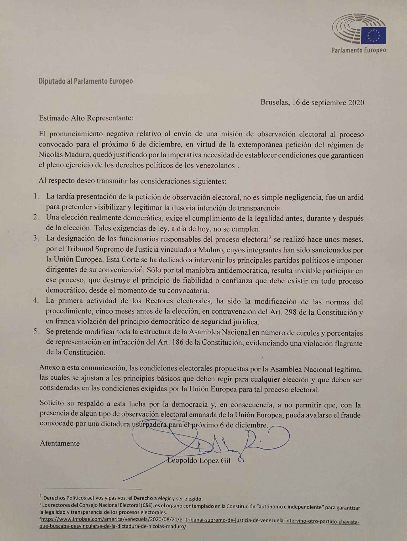 La carta enviada por López Gil a Josep Borrell.