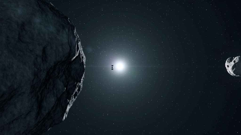 Sonda Hera aproximándose al asteroide (representación)