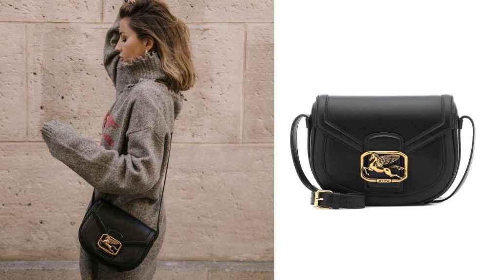 Lovely Pepa posando con un bolso de cuero de la firma italiana Etro