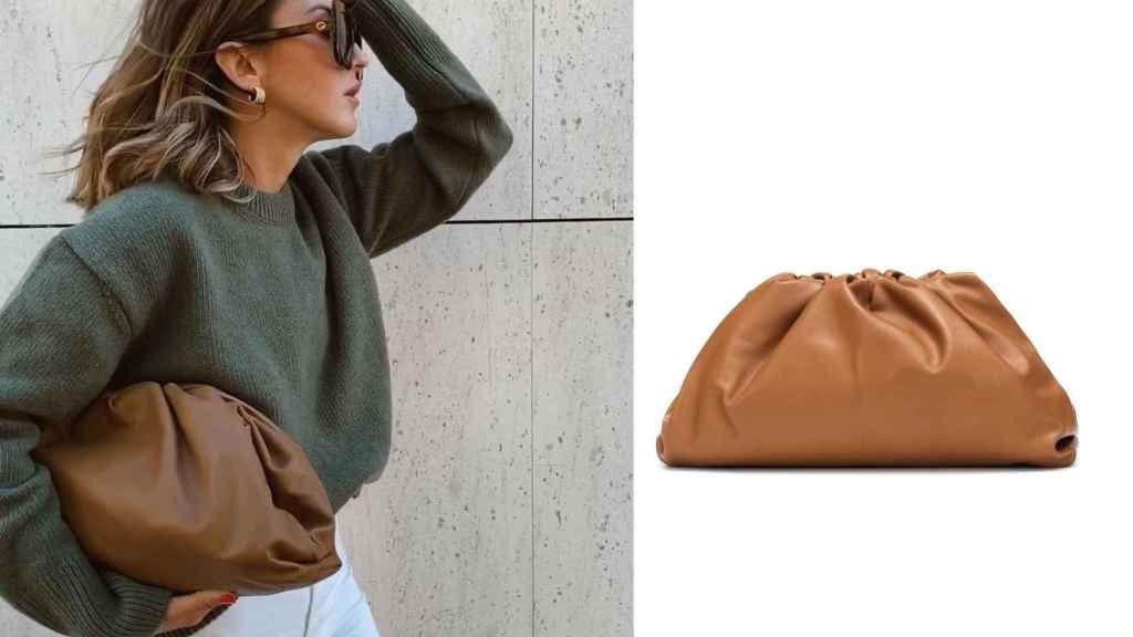 Con un 'look' casual la 'influencer' posaba con este clutch de Bottega Veneta