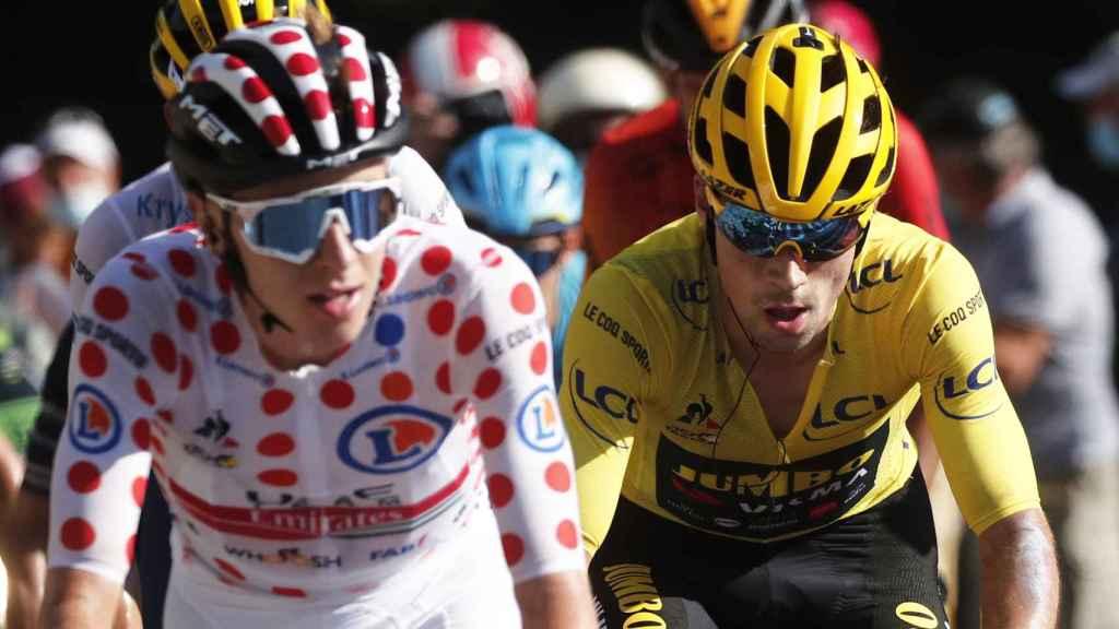 Pogacar y Roglic durante el Tour de Francia
