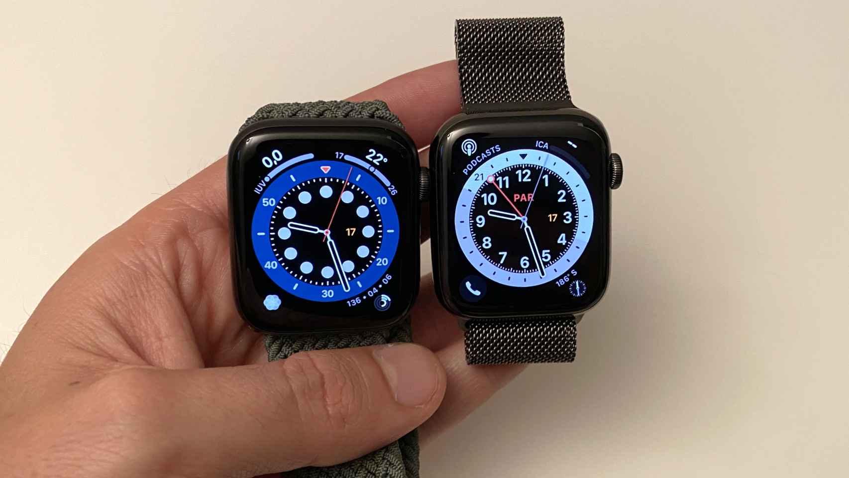 Apple Watch SE (izq.) y Apple Watch Series 6  (Izq.)