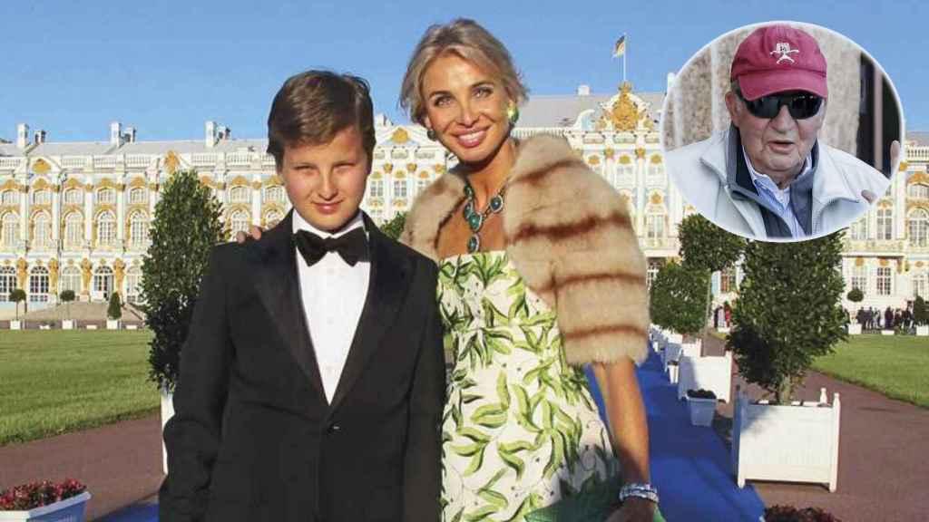 Fotomontaje de JALEOS con Corinna, su hijo y el rey emérito.