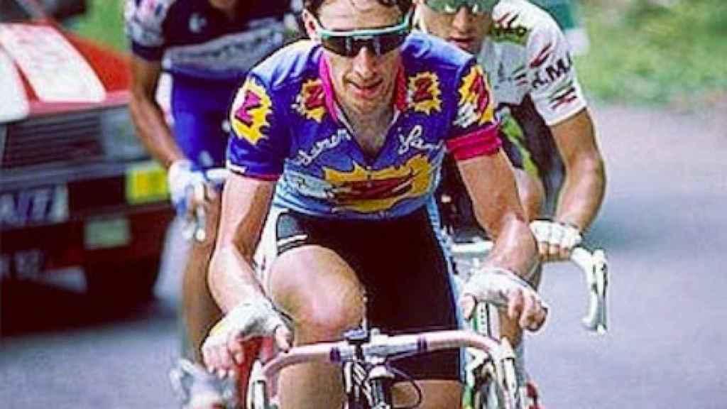 Robert Millar junto a Mottet y Perico Delgado