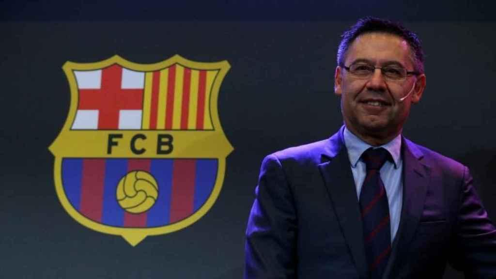 Bartomeu durante una comparecencia del FC Barcelona